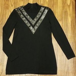 St. John Santana knit leather trim mock neck sweat
